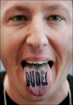 DUDE text tongue tattoo design