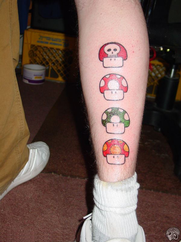 Magic Mario Mushroom Trippy Tattoos
