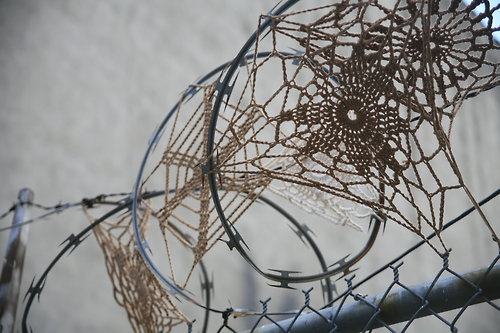Crochet Swpider Web Razor Barbed Wire Yarn Bomb Street Craft