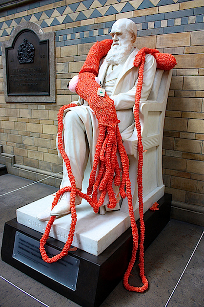 Giant Yarn Squid Knitted Graffiti Statue Street Art