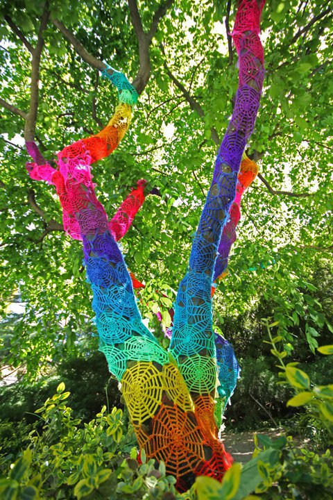 Guerilla Crochet Yarn Bombing Tree Cozy