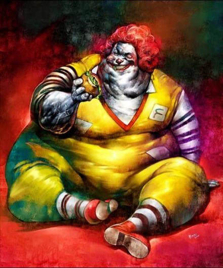 Obese Ronald McDonald Fats Food Funny Art