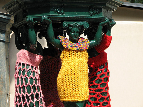 Yarn Bomb Statue Crochet Art Craft Clothing